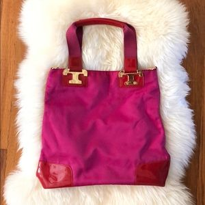 Tori Burch Nylon & Patent Leather Messenger Bag